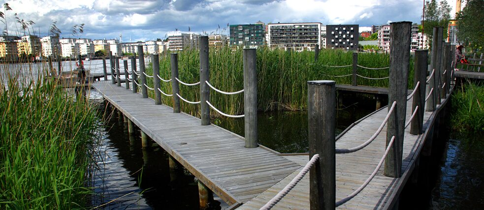 Clean, natural parks and close proximity to the water shape life in Sweden's Hammarby Sjöstad.