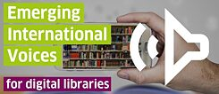 Schriftzug Emerging international voices for libraries
