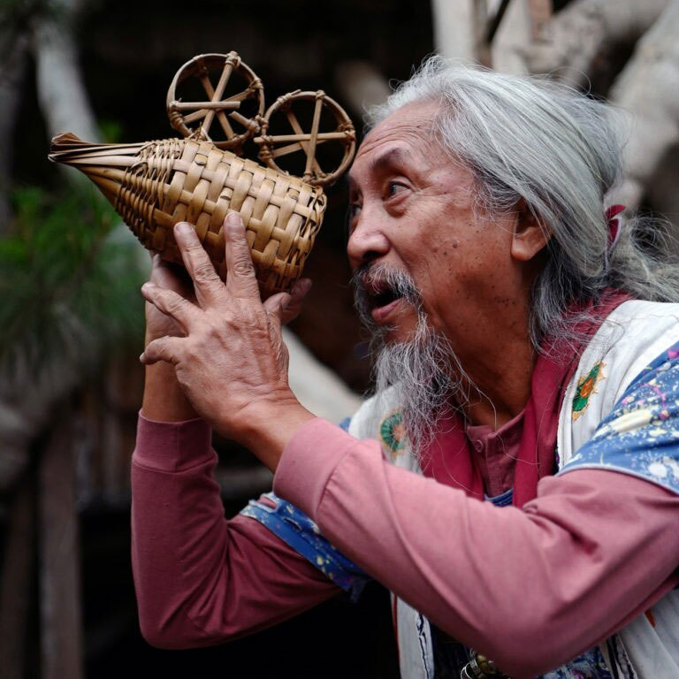 Multi award-winning filmmaker Kidlat Tahimik with his bamboo camera.