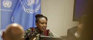Nanjira Sambuli, Digital Equality Advocacy Manager for the World Wide Web Foundation, speaks during a press briefing on the report of the High-level Panel on Digital Cooperation, at the UN headquarters in New York, on June 10, 2019