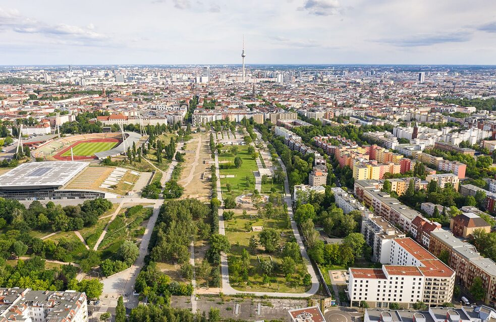 Mauerpark aerial shot in 2020