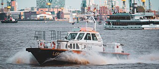 A pilot boat in Hamburg harbor