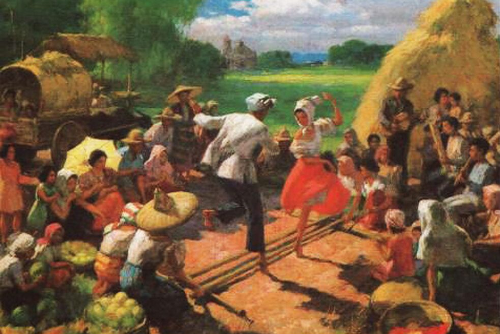 »The Tinikling Dance« 1954 oil on canvas painting by Fernando Amorsolo.