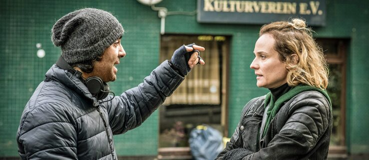 "Fatih Akin and Diane Kruger on the set of ""Aus dem Nichts"""