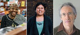 The recipients: Zukiswa Wanner, Elvira Espejo Ayca and Ian McEwan