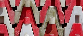 Detail of stacked portable crash barriers