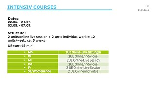 Intensiv Online Course 2.