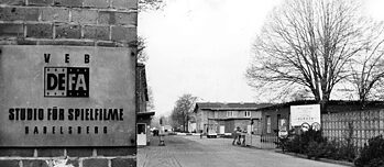 Entrance area of the Babelsberg film studios in Potsdam during GDR times, when the state-owned DEFA company's (Deutsche Film AG) studios were located here.
