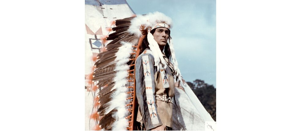 "What Winnetou was to the West, Tokei-ihto was to the East: the actor Gojko Mitic in the DEFA native American film ""The Sons of the Great Bear"" in 1965."