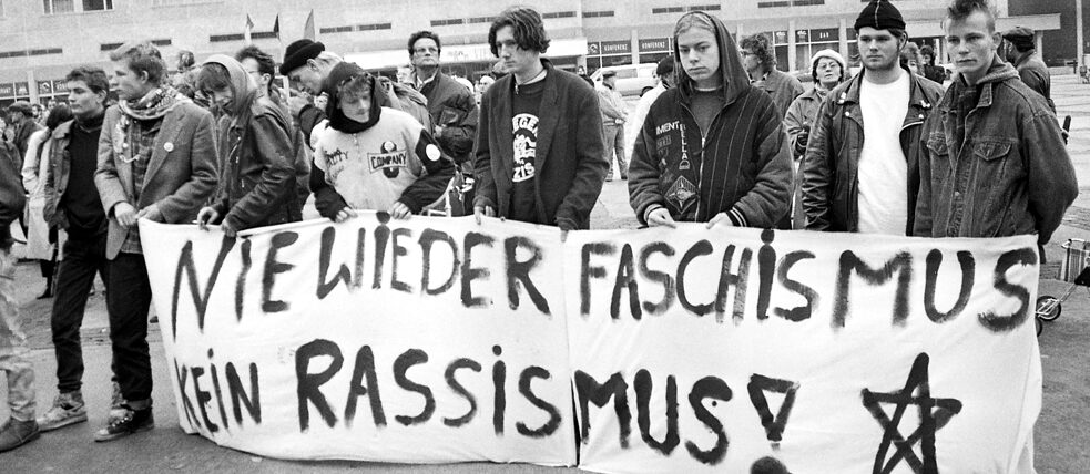 Racism was a problem in East Germany before and after the border opened: Young anti-fascists demonstrate against burgeoning right-wing extremism in Neubrandenburg in 1990.