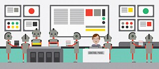 Illustration: Several robots carry books through a control room, a human oversees their activities.