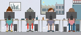 Illustration: Three people and a robot sitting side by side at tables with laptops.
