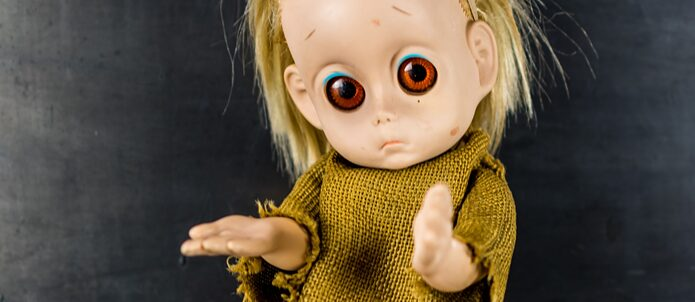 Little Miss No Name / 1965 - Toy brand Hasbro, better known for their action figure G.I. Joe, designed this unusual doll to be an alternative to the hugely popular Barbie. In keeping with the climate of the mid-sixties, they wanted to teach little girls compassion and the realities of life for those less fortunate. With large expressive eyes, Little Miss No Name is dressed in rags, barefoot and sports a very large tear. She even has an outstretched hand, waiting to be consoled and protected. Most kids were terrified. Hasbro quickly discontinued the doll. Like many other odd short lived products, Little Miss No Name is now an attractive collector's item and can be found all over the Internet in short films from horror to comedy.