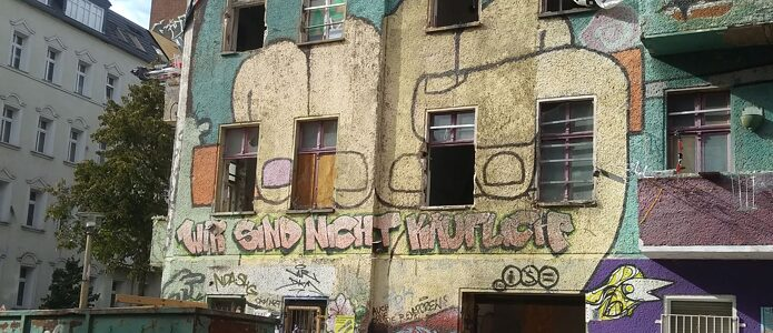 Closeup photo of Liebig34 squat in Friedrichshain, Berlin