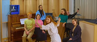 Holly Herndon and band, ahead of the launch of her album Proto