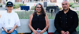 "Guadalupe Rosales, Cindi Alvitre and Joel Garcia in discussion at Grand Park for ""Future Ancestral Monuments,"" part of the event series ""Yaangna, Beyond LA. Indigenous Frameworks."""