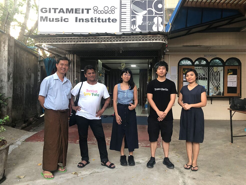 Pictured from left to right: Gitameit co-founder Htun Htun, Wok The Rock, Joee Mejias, our research assistant Wai-Yan, and Zoncy from Goethe Institut Myanmar.