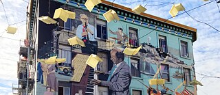 """Jazz Mural"" von Bill ""El Gallo"" Weber, 606 Broadway N. Beach in San Francisco"