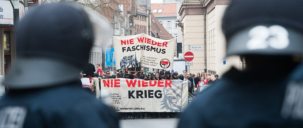 "Counterdemonstration at a demonstration of the right-wing extremist ""Freundeskreis Thüringen-Niedersachsen"" (Thügida) group at Wilhelms Square in Gottingen on April 1, 2017."