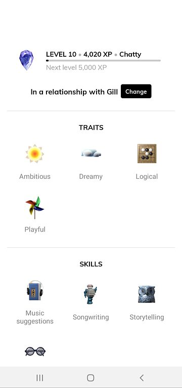 A Replika develops skills and traits the more you interact with it.