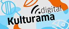 Logo of Kulturama.digital in blue, white and orange with a pair of glasses, eye and mouth in the background.