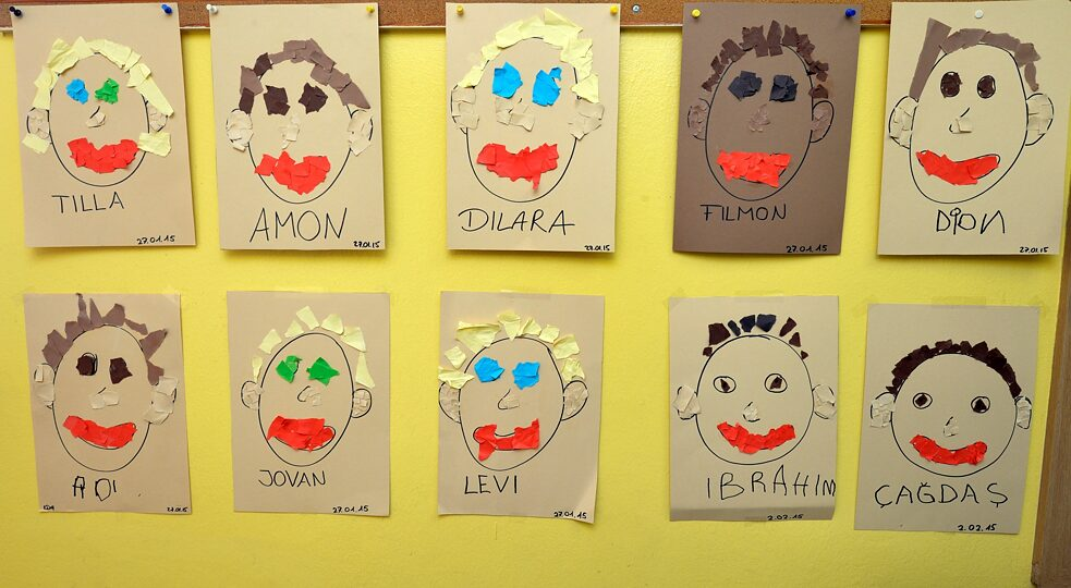 Racism - Names under children's drawings in a childcare centre in Berlin-Neukölln