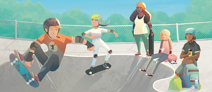 Illustration: Unge med skateboards i en skatepark.