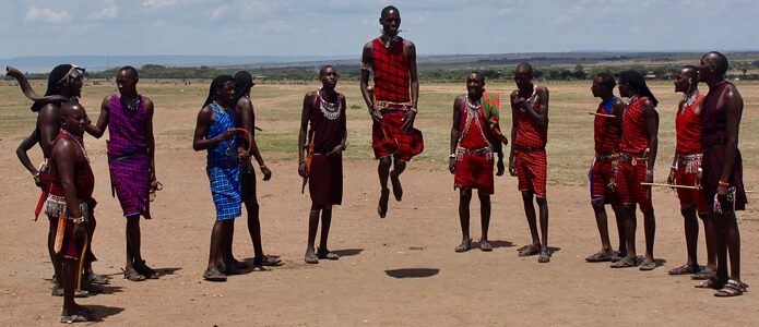 Maasai tribesmen in Masai Mara National Reserve, Kenya