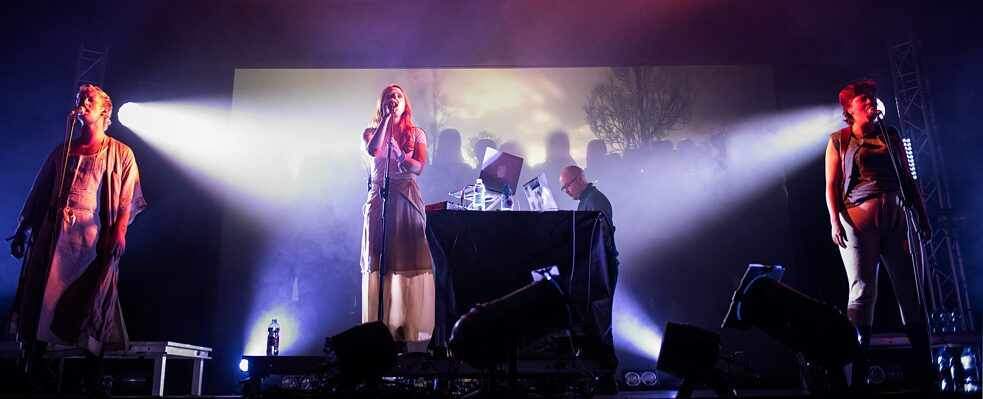 "Musician and sound artist Holly Herndon performing her third full-length album ""Proto"" developed with AI at the 2019 Club to Club Festival in Italy."