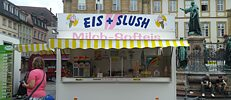 """Eis & Slush"" truck in a market square in Germany"