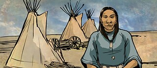 You are surrounded by land that is nothing but horizon except for a small community of teepees. An Apsaalooke person is tending to their home as you approach.