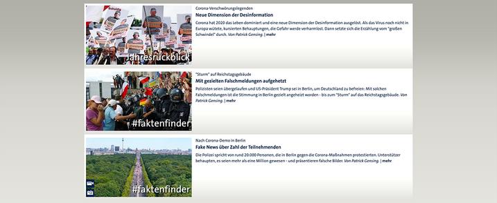 Στιγμιότυπο οθόνης της ιστοσελίδας του τμήματος εντοπισμού γεγονότων του ARD.
