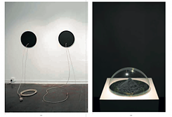 Rowan Smith, left: Extensions of the Universe, 2007, acrylic on board, cane, imbuia, maple, African rosewood and iroko, dimensions variable, right: 384,403 Kilometres, 2009, moon dust simulant, brass plate, Perspex, 32 × 32 × 16 cm / Credit: Rowan Smith, Kerber Verlag