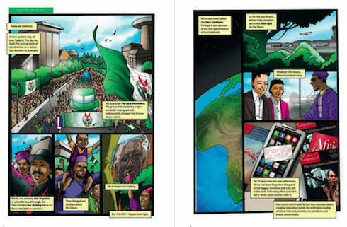 Page spreads from Ibrahim Ganiyu's work-in-progress graphic novel Nwadie (2015–ongoing)