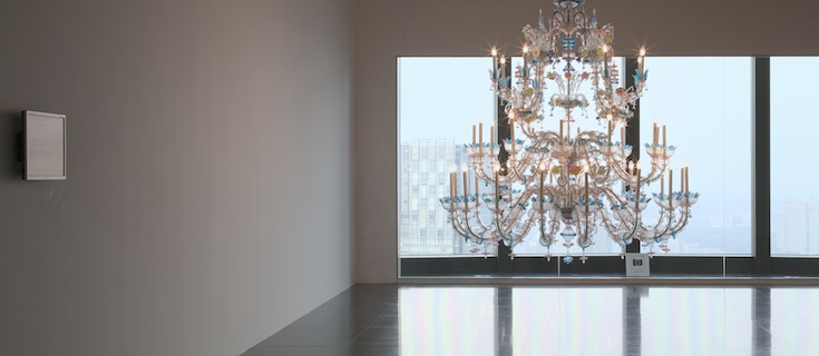 "A chandelier that sends flashing Morse code signal is a real possiblity today with the right programming. The Murano glass chandelier by Cerith Wyn Evans transmits the ""Stages of Photographic Development"" chapter from Siegfried Marx's ""Astrophotography"" (1987) via Morse code."