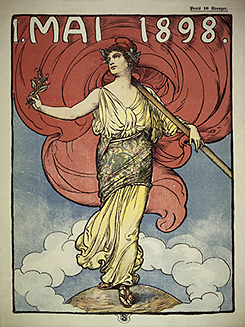 The cover of the Austrian May Magazine in honour of Labour Day, 1898. It features Marianne, the symbol of the French Republic. She is holding a Phrygian cap like the one the Jacobins wore during the French Revolution.