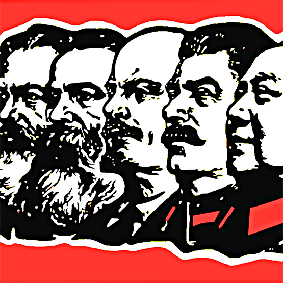 (right to left) Portrait of communists Karl Marx, Friedrich Engels, Vladimir Ilyich Lenin, Joseph Stalin and Mao Zedong.