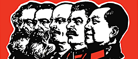 (from left to right) Karl Marx, Friederich Engels, Vladimir Illich Lenin, Josef Stalin and Mao Tse-Tung