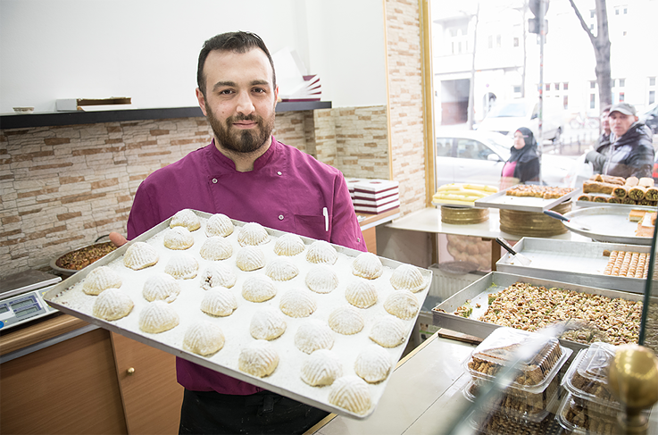 <b>Umkalthum Pastry Shop, Mahmoud:</b> During Ramadan we offer more variety. We sell richer pastries with dulce de leche or topped with baked cheese. Kunafe is very popular, which is a semolina pastry stuffed with Arab cheese and drizzled with syrup.