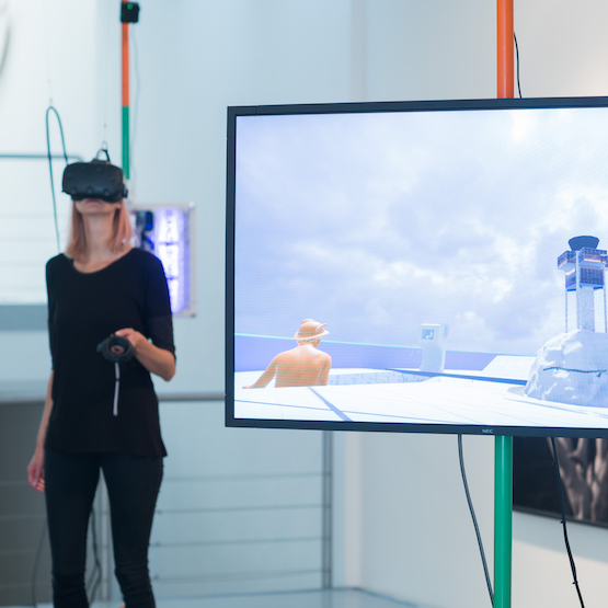 "The VR artwork ""RESET III AND VIRTUAL REALITY"" curated by Tina Sauerländer from ""peer to space"" at Priska Pasquer art gallery in Cologne, Germany, in 2017."