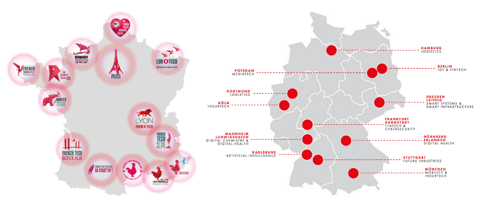 Die 13 French Tech Metropolen und die 12 Digital Hubs