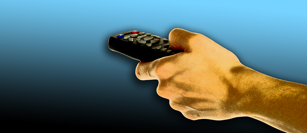 Serienfieber Illustration of a hand clicking a remote control