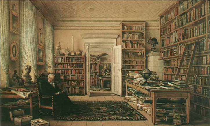 Alexander von Humboldt in the library in his Oranienburger Strasse, Berlin apartment, by Eduard Hildebrandt