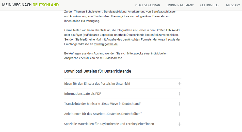 Mein Weg nach Deutschland – Screenshot For teachers