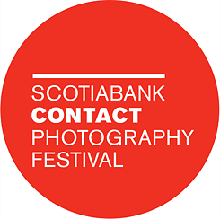 Logo of Scotiabank CONTACT Photography Festival; shows red circle with white lettering