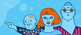 Illustration of a woman and two men with colourful styles