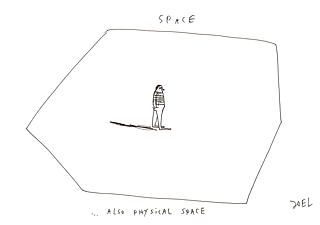 Graphic Recording: Space is physical space.
