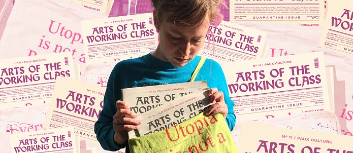 Arts Of The Working Class Special Edition Nr.5: Worlds Of Homelessness. A young women holding the special issue of the magazin.