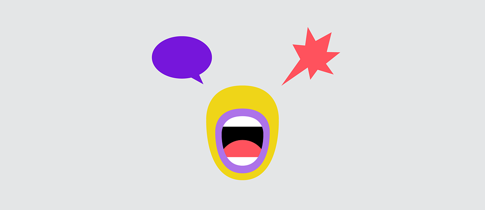 A mouth with one round and one jagged speech bubble