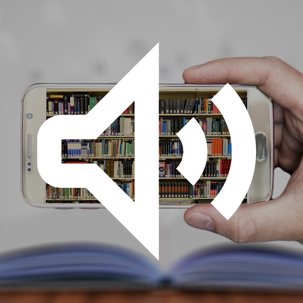Graphic of a loudspeaker symbol, in the background a hand holds a smartphone on which a bookshelf is shown.